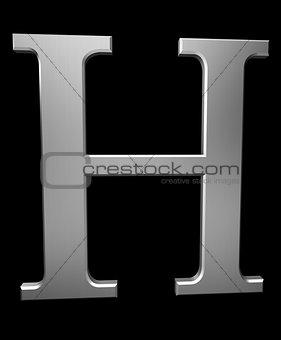 Letter H in brushed steel