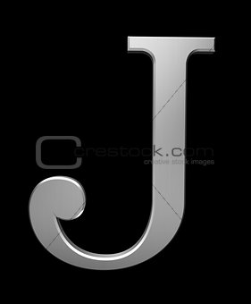 Letter J in brushed steel