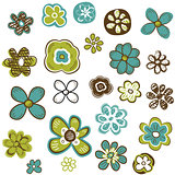 doodle flowers set