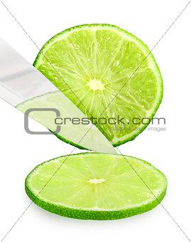 Cutting fresh green lime