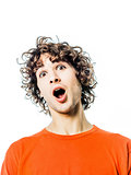 young man surprised amazed portrait