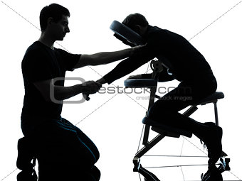 hands arms massage therapy with chair