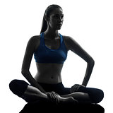 woman exercising yoga meditating