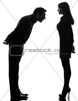 couple woman seducing man silhouette