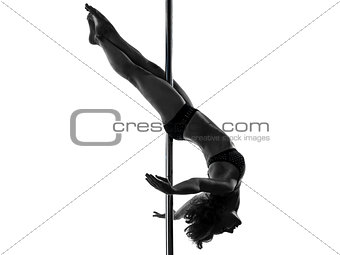 woman pole dancer crossed knee pose silhouette
