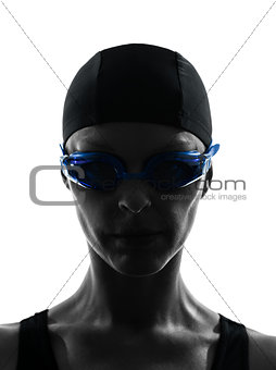woman competition swimmer portrait silhouette