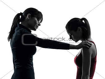 teacher woman mother teenager girl consoling discussion  in silh