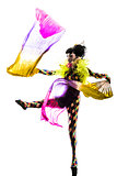 woman harlequin circus dancer performer  silhouette