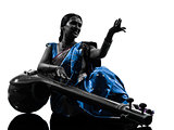 indian tempura musician woman   silhouette