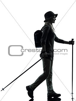 woman trekker trekking walking silhouette