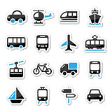 Transport, travel vector icons set isoalated on white