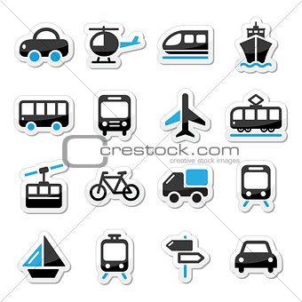 Transport, travel vector icons set isoalated on white