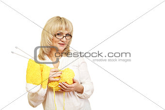 woman with yarn and knitting