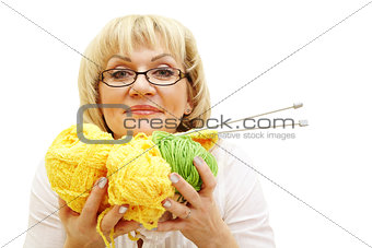 adult woman with yarn