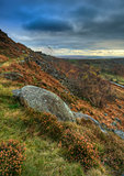 Abandoned millstones on Curbar Edge in Peak District National Pa