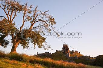 Beautiful old castle ruin on Autumn morning