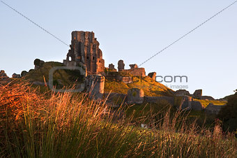 Beautiful old castle ruin on Autumn morning