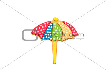 Beach umbrella on white