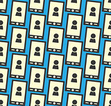 Seamless pattern with smartphone icon