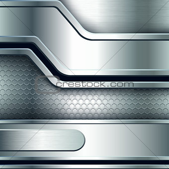 Abstract background, metallic silver banners.