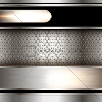 Abstract background, metallic banners.