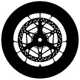 Motorbike wheel silhouette