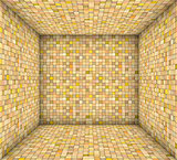 orange yellow mosaic square tiled empty space
