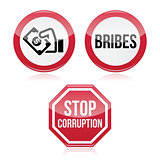 No bribes, stop corruption warning signs