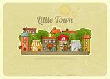 Little Town Retro Background