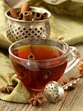 Tea with spices - cinnamon, a carnation and an anise
