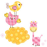 cute birds & giraffe