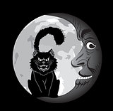 Black cat under the Moon