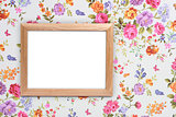 wood frame on vintage floral background