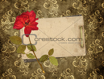 Old cards and dry rose
