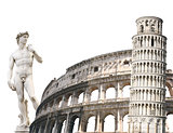 Leaning Tower of Pisa, Colosseum and Michelangelo's David