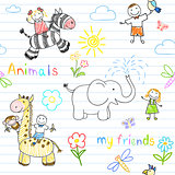 Seamless background with happy children&#39;s and animals