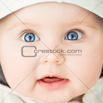 closeup portrait of beautiful baby