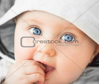 closeup portrait of beautiful baby