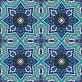 Arabesque seamless pattern in blue and turquoise