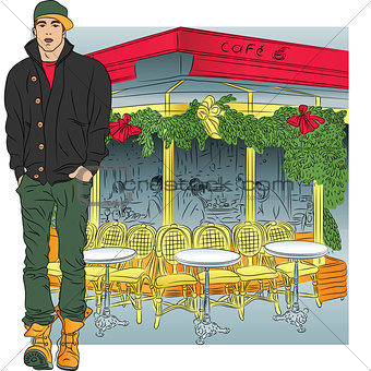 Vector stylish guy in jeans, jacket, boots, cap on the background