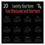 12 Month calendar for 2014