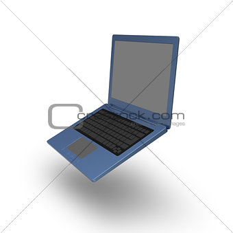 Blue laptop blank keyboard