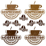 Types of coffee stamps