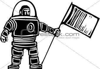 Woodcut Astronaut with Flag