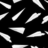 White  Paper planes, seamless wallpaper, vector illustration