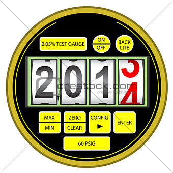 2014 New Year modern digital gas manometer isolated on white bac