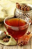 Tea with spices - cinnamon, a carnation and an anise