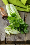 fresh chopped celery on a wooden table