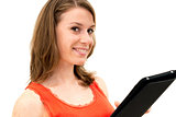 young woman holding in hand a tablet touch pad
