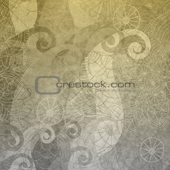 Gray wallpaper with vintage pattern